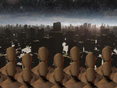 Faceless masses before ruins — Stock Photo