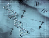 Clock and DNA — Stock Photo