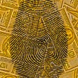 Finger Print and USA Currency — Stock Photo