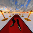 Stock Photo: Black stilettos on red carpet