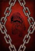 Chains surround fingerprint — Stock Photo