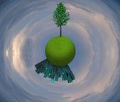 árbol y ciudad planeta herboso — Foto de Stock