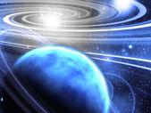 Espacio con planeta anillado — Foto de Stock
