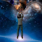 Man stretches space time to show power beneath — Stock Photo
