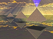 Triad of floating Pyramids — Stock Photo