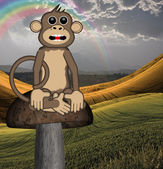 Monkey sitting on mushroom — Stock Photo