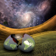 Stock Photo: Earth egg is hatched