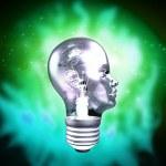Human Head Light Bulb — Stock Photo