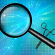 Stock Photo: Magnify glass and forcepts