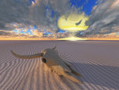 Cow skull and nuclear explosion in desert — Stock Photo
