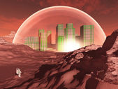 Domed city in inhospitable planet — Stock Photo