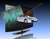 Credit card, car, flat panel and guitar — Stock Photo