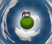Horse on Grassy Sphere — Stock Photo