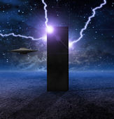 Alien Craft Approaches Monolith — Stock Photo