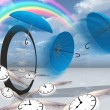 Winged clock fly into the strange scene — Stock Photo