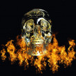 Crystal skull surrounded by fire — Stock Photo