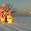 Fire burning around tree in desert Sands — Stock Photo