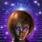 Machine Human Girl — Stock Photo