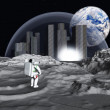 Lunar city earthrise — Stock Photo #29509071