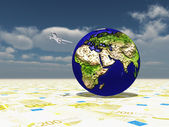 Earth focus Europe, Africa, Mideast Asia on Euro Surface and Aircraft Circling Planet — Stock Photo