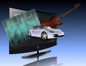 Credit card, car, flat panel and guitar — Stock Photo