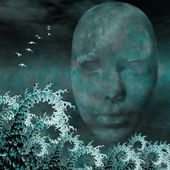 Surreal Mask and fractals as ocean waves — Stock Photo