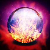 Fire in diviners sphere — Stock Photo