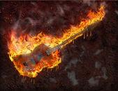 Flaming smeltende gitaar — Stockfoto