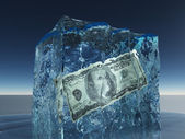 One hundred dollar bill frozen in ice — Stock Photo