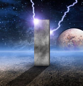 Monolith on Lifeless Planet — Stock Photo