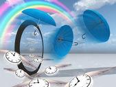 Winged clock fly into the strange scene — Stock Photo