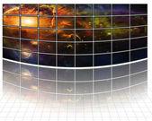 Galaksiler ve yıldızlar beyaz ekran üzerinde — Stok fotoğraf