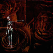 Skeletal figure and rose grunge — Stock Photo