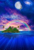 Isola tropicale galleggiante — Foto Stock