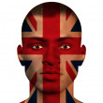 UK Flag on Man face — Stock Photo