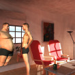Man sees fat possibilities in mirror — Stock Photo