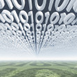 Binary code clouds — Stock Photo