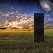 Black Monolith in Landscape — Stock Photo