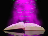 Buch mit schwebenden Text und Licht — Stockfoto