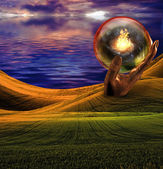 Surreal Landscape with giant sculptures and fire — Stock Photo