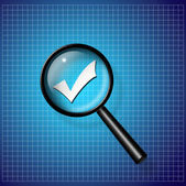 Check Mark under magnify glass — Stock Photo