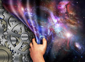 Machinery beneath space time revealed — Stock Photo