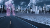 Stormy sky with lightning on desert road — Stock Photo