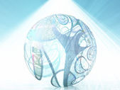 Abstract ball shape with swirling lines — Stock Photo