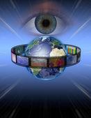Eye watches earth film — Stock Photo