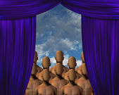Faceless Masses behind curtain — Stock Photo