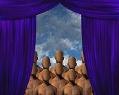 Faceless Masses behind curtain — Stock Photo