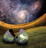 Earth egg is hatched — Stock Photo