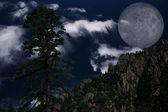 Lone Pine and Moon with Mountain — Zdjęcie stockowe