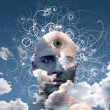 Eye on cloud mans head — Stock Photo #29580899
